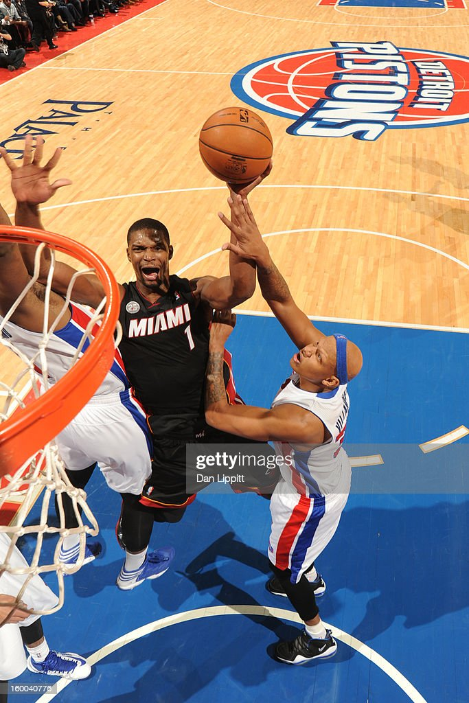<a gi-track='captionPersonalityLinkClicked' href=/galleries/search?phrase=Chris+Bosh&family=editorial&specificpeople=201574 ng-click='$event.stopPropagation()'>Chris Bosh</a> #1 of the Miami Heat drives to the basket against the Detroit Pistons on December 28, 2012 at The Palace of Auburn Hills in Auburn Hills, Michigan.