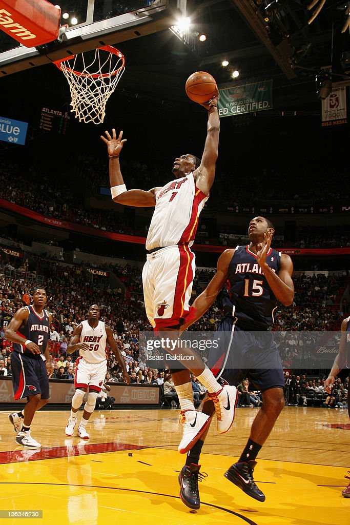 Chris Bosh #1 of the Miami Heat drives to the basket during the first quarter against the Atlanta Hawks on January 2, 2012 at American Airlines Arena in Miami, Florida.