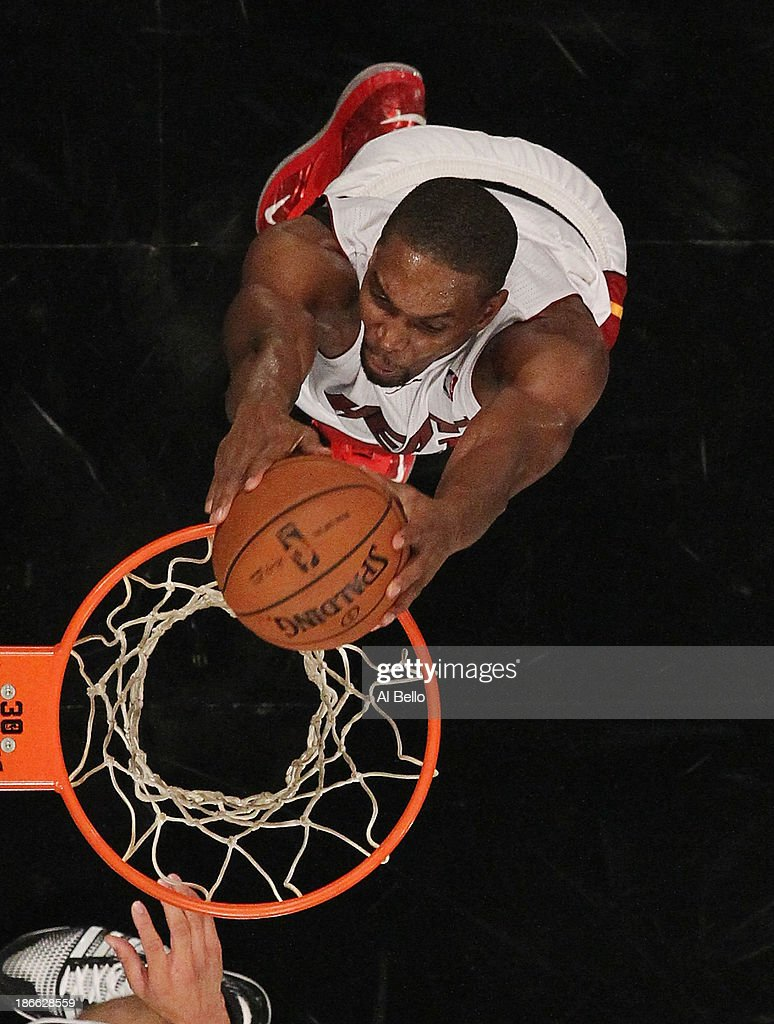 <a gi-track='captionPersonalityLinkClicked' href=/galleries/search?phrase=Chris+Bosh&family=editorial&specificpeople=201574 ng-click='$event.stopPropagation()'>Chris Bosh</a> #1 of the Miami Heat dunks against the Brooklyn Nets during their game at the Barclays Center on November 1, 2013 in the Brooklyn borough of New York City.