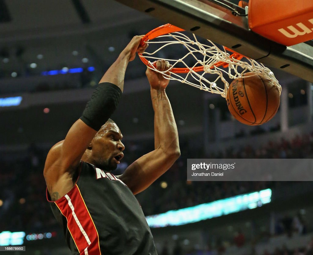 Chris Bosh #1 of the Miami Heat dunks against the Chicago Bulls in Game Four of the Eastern Conference Semifinals during the 2013 NBA Playoffs at the United Center on May 13, 2013 in Chicago, Illinois.