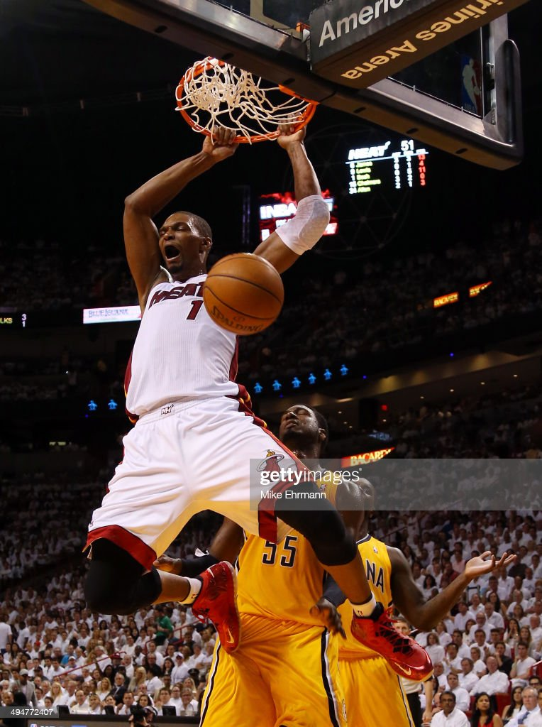 <a gi-track='captionPersonalityLinkClicked' href=/galleries/search?phrase=Chris+Bosh&family=editorial&specificpeople=201574 ng-click='$event.stopPropagation()'>Chris Bosh</a> #1 of the Miami Heat dunks against the Indiana Pacers during Game Six of the Eastern Conference Finals of the 2014 NBA Playoffs at American Airlines Arena on May 30, 2014 in Miami, Florida.