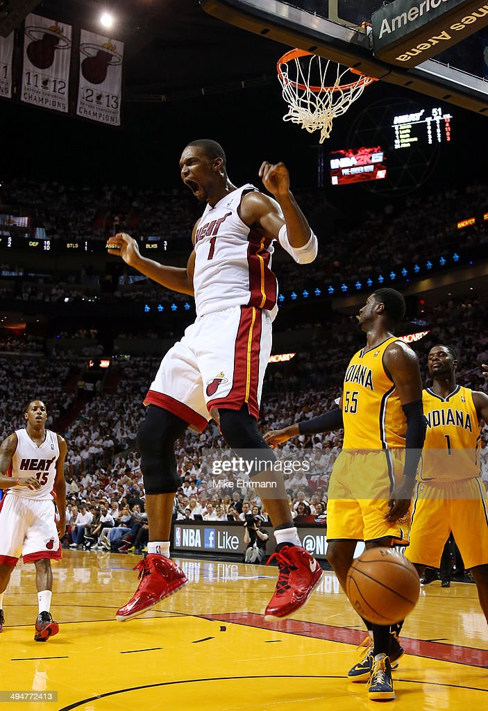 Chris Bosh of the Miami Heat dunks against the Indiana Pacers during Game Six of the Eastern Conference Finals of the 2014 NBA Playoffs at American...