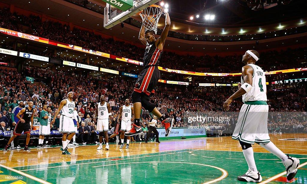 Chris Bosh #1 of the Miami Heat dunks the ball against the Boston Celtics during the game on January 27, 2013 at TD Garden in Boston, Massachusetts.