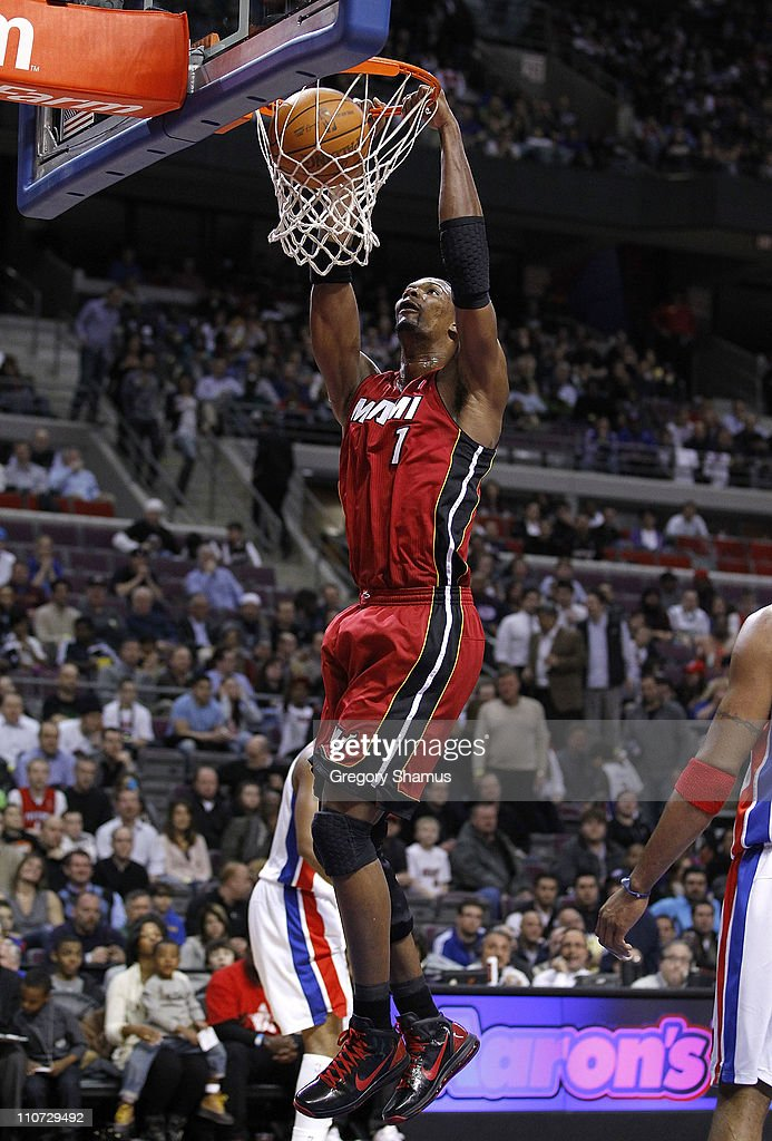 Chris Bosh #1 of the Miami Heat gets in for a dunk while playing the Detroit Pistons at The Palace of Auburn Hills on March 23, 2011 in Auburn Hills, Michigan.