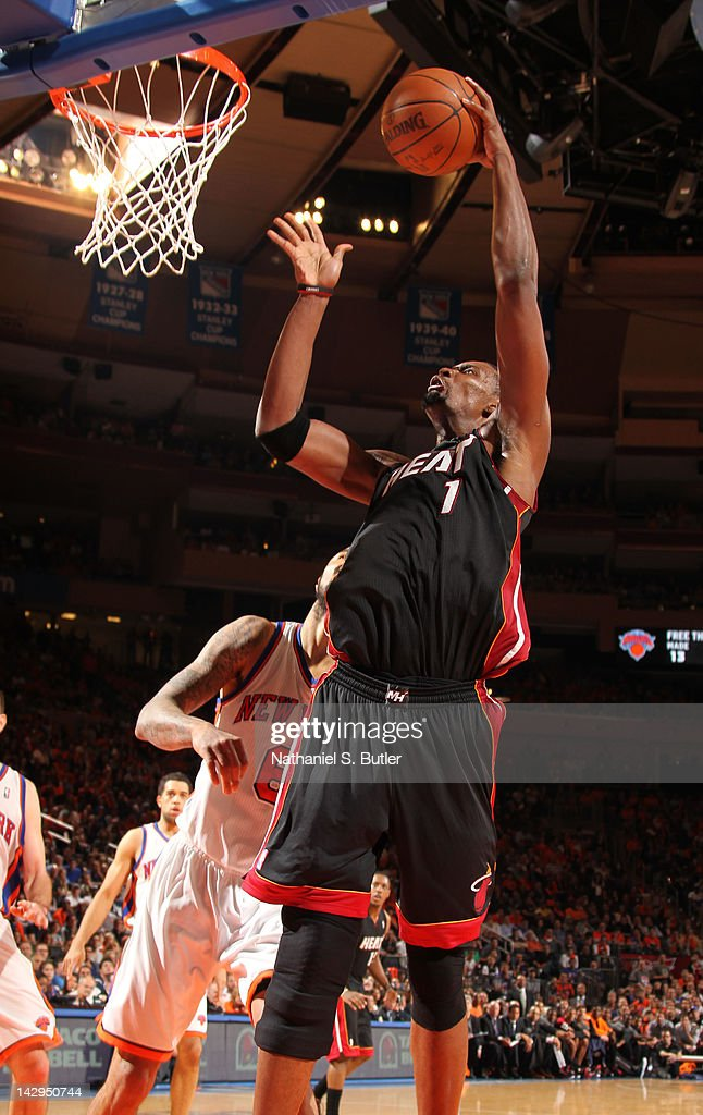 <a gi-track='captionPersonalityLinkClicked' href=/galleries/search?phrase=Chris+Bosh&family=editorial&specificpeople=201574 ng-click='$event.stopPropagation()'>Chris Bosh</a> #1 of the Miami Heat goes to the basket during the game against the New York Knicks on April 15, 2012 at Madison Square Garden in New York City.
