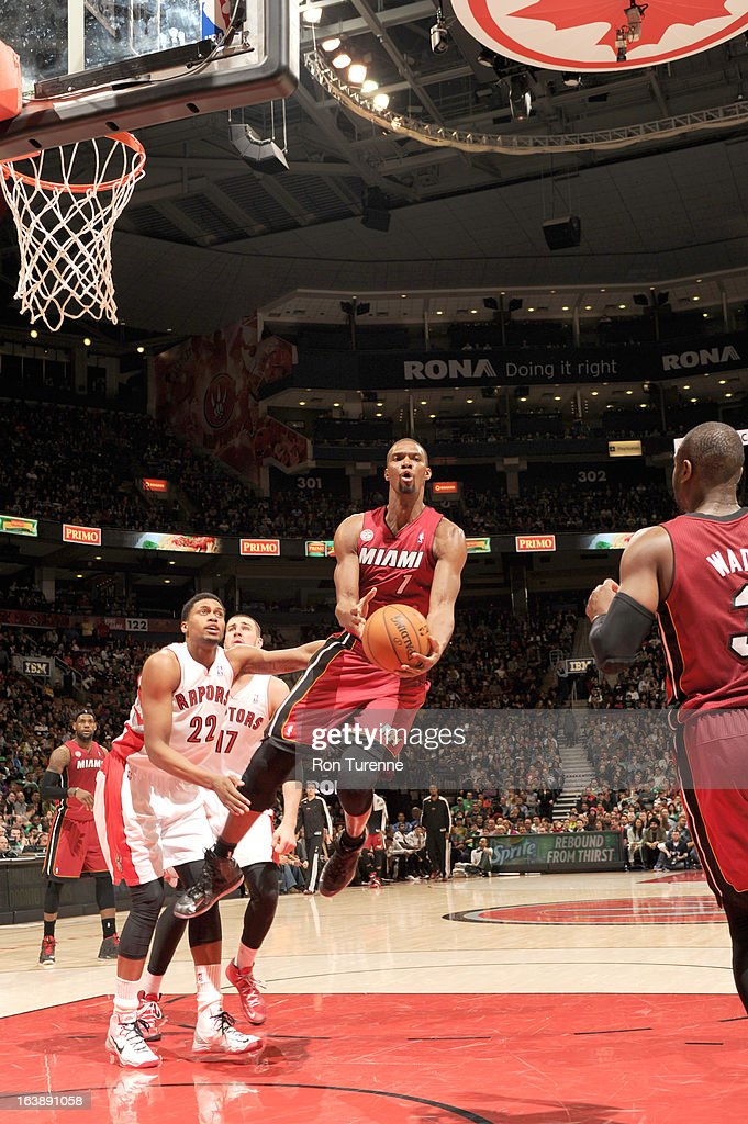 Chris Bosh #1 of the Miami Heat goes to the basket during the game between the Toronto Raptors and the Miami Heat on March 17, 2013 at the Air Canada Centre in Toronto, Ontario, Canada.