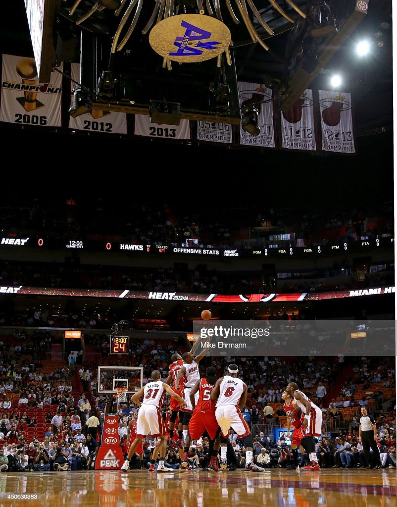 <a gi-track='captionPersonalityLinkClicked' href=/galleries/search?phrase=Chris+Bosh&family=editorial&specificpeople=201574 ng-click='$event.stopPropagation()'>Chris Bosh</a> #1 of the Miami Heat goes up for a jump ball during a game against the Atlanta Hawks at American Airlines Arena on November 19, 2013 in Miami, Florida.