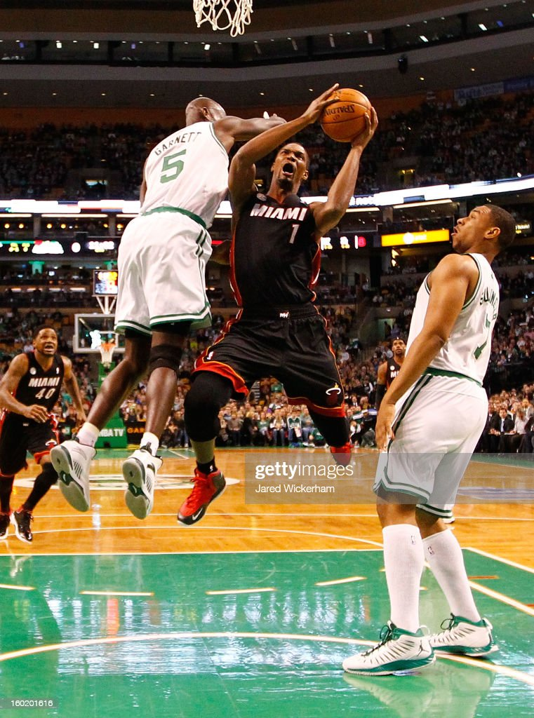Chris Bosh #1 of the Miami Heat goes up for a layup in front of Kevin Garnett #5 of the Boston Celtics during the game on January 27, 2013 at TD Garden in Boston, Massachusetts.