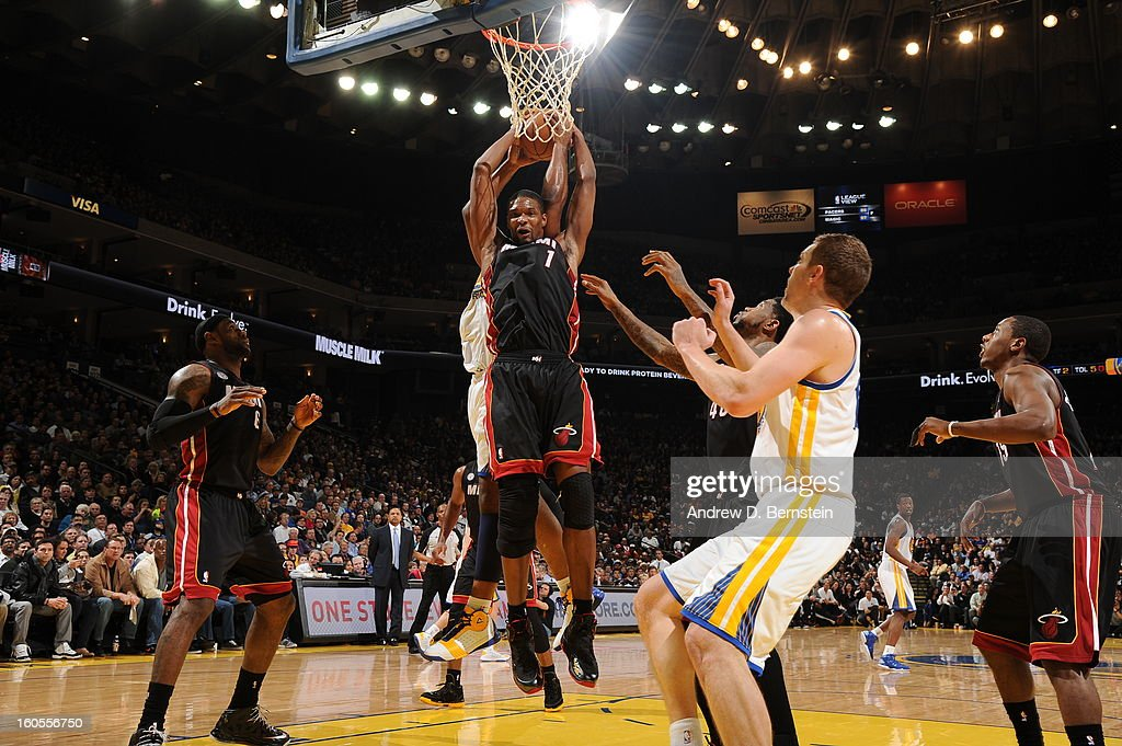 Chris Bosh #1 of the Miami Heat grabs a rebound against the Golden State Warriors on January 16, 2013 at Oracle Arena in Oakland, California.
