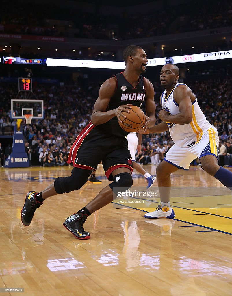 Chris Bosh #1 of the Miami Heat in action against the Golden State Warriors on January 16, 2013 at Oracle Arena in Oakland, California.