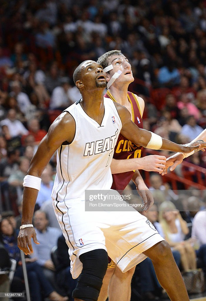 Chris Bosh #1 of the Miami Heat in action during the game against the Cleveland Cavaliers on November 24, 2012 at American Airlines Arena in Miami, Florida.