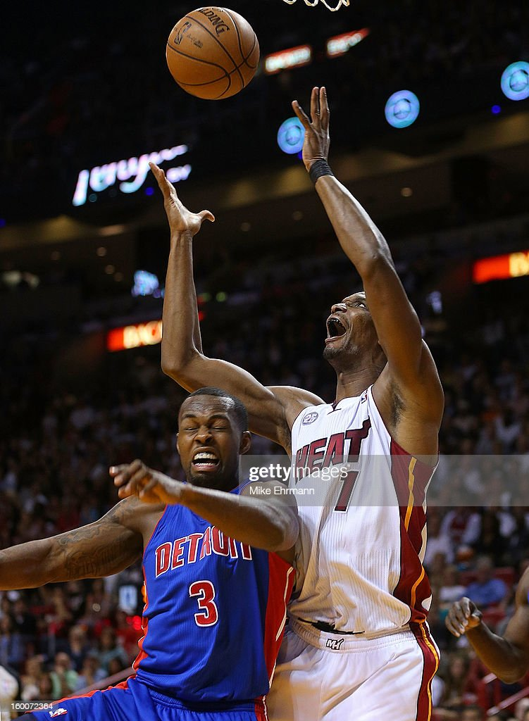 Chris Bosh #1 of the Miami Heat is fouled by Rodney Stuckey #3 of the Detroit Pistons during a game at American Airlines Arena on January 25, 2013 in Miami, Florida.