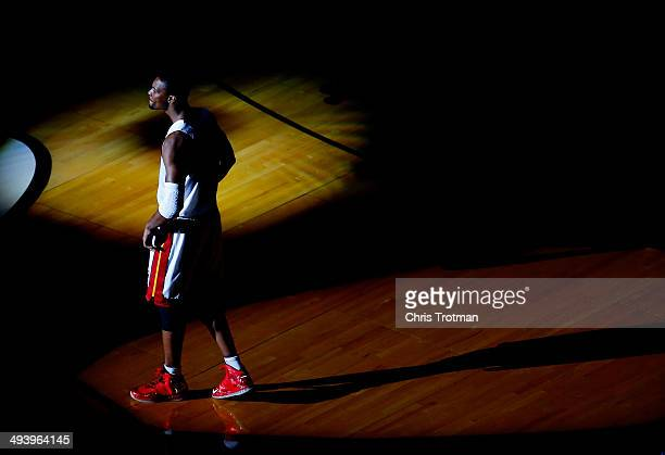 Chris Bosh of the Miami Heat is introduced before Game Four of the Eastern Conference Finals of the 2014 NBA Playoffs against the Indiana Pacers at...