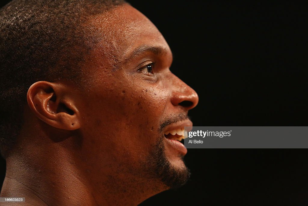 <a gi-track='captionPersonalityLinkClicked' href=/galleries/search?phrase=Chris+Bosh&family=editorial&specificpeople=201574 ng-click='$event.stopPropagation()'>Chris Bosh</a> #1 of the Miami Heat looks on against the Brooklyn Nets during their game at the Barclays Center on November 1, 2013 in the Brooklyn borough of New York City.