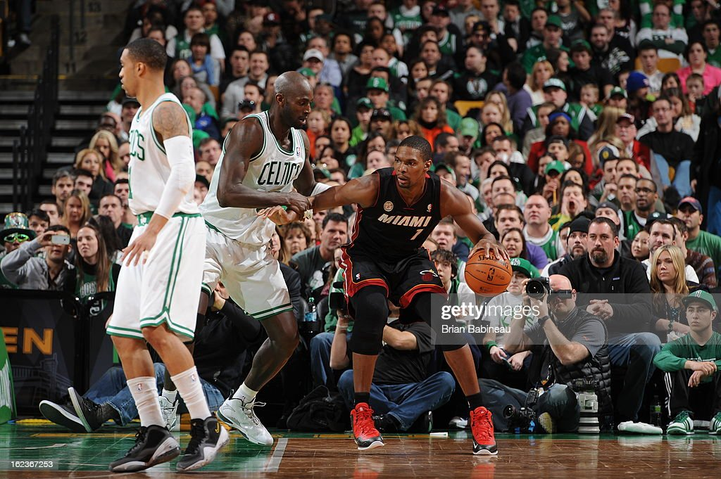 Chris Bosh #1 of the Miami Heat looks to drive to the basket against the Boston Celtics on January 27, 2013 at the TD Garden in Boston, Massachusetts.