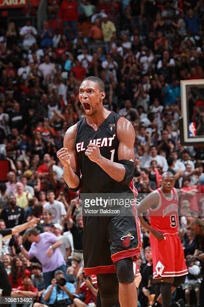 Chris Bosh of the Miami Heat reacts after a play against the Chicago Bulls on March 6 2011 at American Airlines Arena in Miami Florida NOTE TO USER...