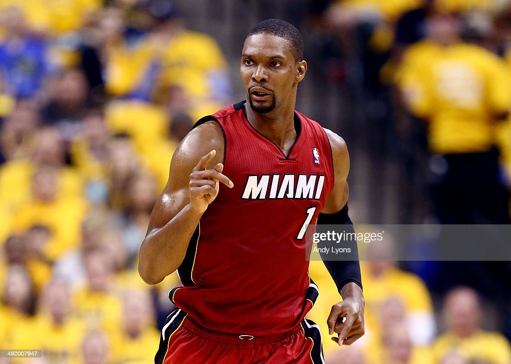 <a gi-track='captionPersonalityLinkClicked' href=/galleries/search?phrase=Chris+Bosh&family=editorial&specificpeople=201574 ng-click='$event.stopPropagation()'>Chris Bosh</a> #1 of the Miami Heat reacts against the Indiana Pacers during Game One of the Eastern Conference Finals of the 2014 NBA Playoffs at Bankers Life Fieldhouse on May 18, 2014 in Indianapolis, Indiana.