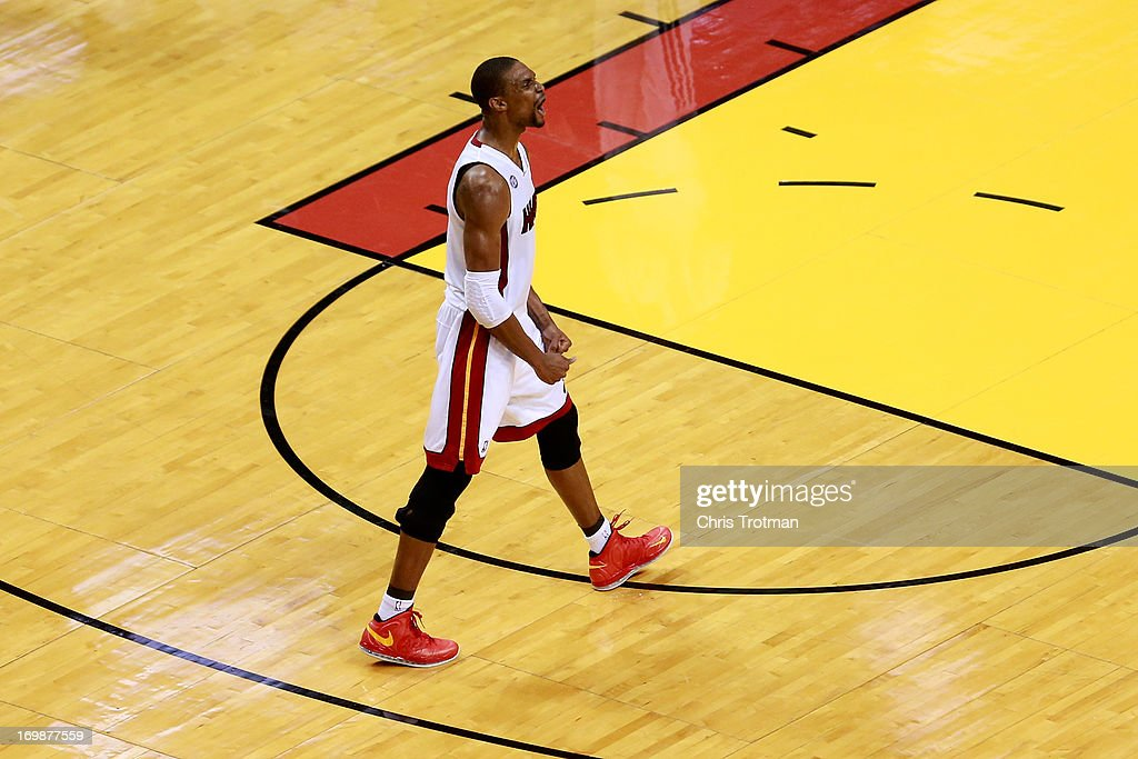 <a gi-track='captionPersonalityLinkClicked' href=/galleries/search?phrase=Chris+Bosh&family=editorial&specificpeople=201574 ng-click='$event.stopPropagation()'>Chris Bosh</a> #1 of the Miami Heat reacts in the first half against the Indiana Pacers during Game Seven of the Eastern Conference Finals of the 2013 NBA Playoffs at AmericanAirlines Arena on June 3, 2013 in Miami, Florida.