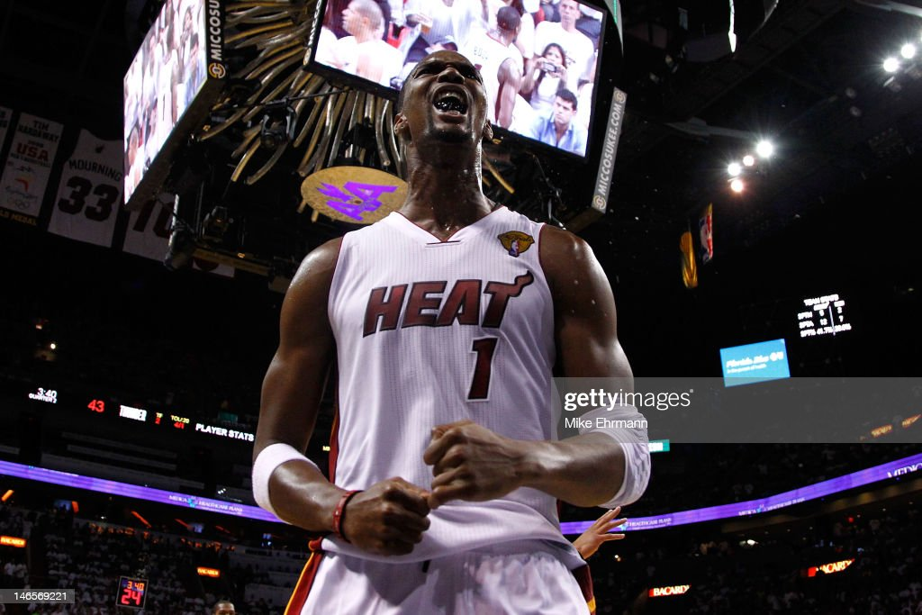 <a gi-track='captionPersonalityLinkClicked' href=/galleries/search?phrase=Chris+Bosh&family=editorial&specificpeople=201574 ng-click='$event.stopPropagation()'>Chris Bosh</a> #1 of the Miami Heat reacts in the second quarter against the Oklahoma City Thunder in Game Four of the 2012 NBA Finals on June 19, 2012 at American Airlines Arena in Miami, Florida.