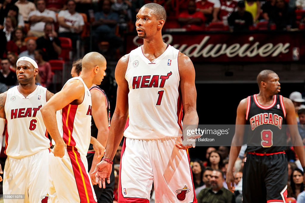 Chris Bosh #1 of the Miami Heat reacts while playing against the Chicago Bulls on January 4, 2013 at American Airlines Arena in Miami, Florida.