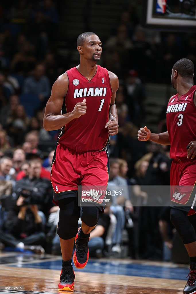 Chris Bosh #1 of the Miami Heat runs up the floor against the Minnesota Timberwolves during the game on March 4, 2013 at Target Center in Minneapolis, Minnesota.