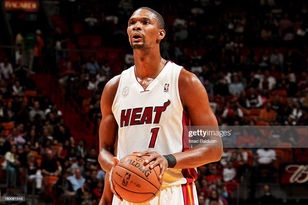 Chris Bosh #1 of the Miami Heat shoots a free-throw against the Detroit Pistons on January 25, 2013 at American Airlines Arena in Miami, Florida.