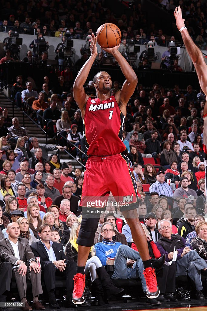 Chris Bosh #1 of the Miami Heat shoots a jumpshot against the Portland Trail Blazers on January 10, 2013 at the Rose Garden Arena in Portland, Oregon.