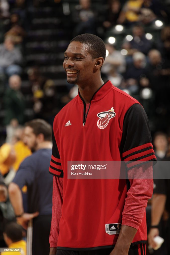 Chris Bosh #1 of the Miami Heat smiles before the game against the Indiana Pacers on February 1, 2013 at Bankers Life Fieldhouse in Indianapolis, Indiana.