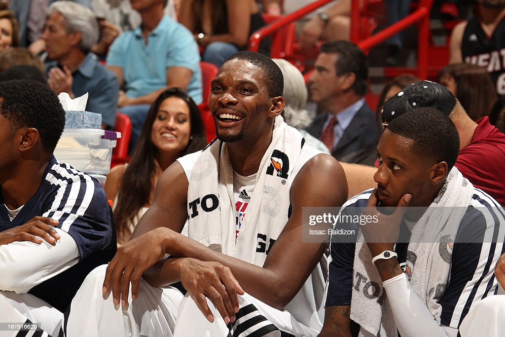 Chris Bosh #1 of the Miami Heat smiles during the game against the Boston Celtics on November 9, 2013 at American Airlines Arena in Miami, Florida.