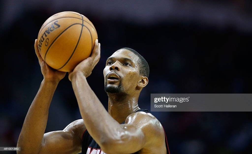 <a gi-track='captionPersonalityLinkClicked' href=/galleries/search?phrase=Chris+Bosh&family=editorial&specificpeople=201574 ng-click='$event.stopPropagation()'>Chris Bosh</a> #1 of the Miami Heat takes a free throw against the Houston Rockets during their game at the Toyota Center on January 3, 2015 in Houston, Texas.