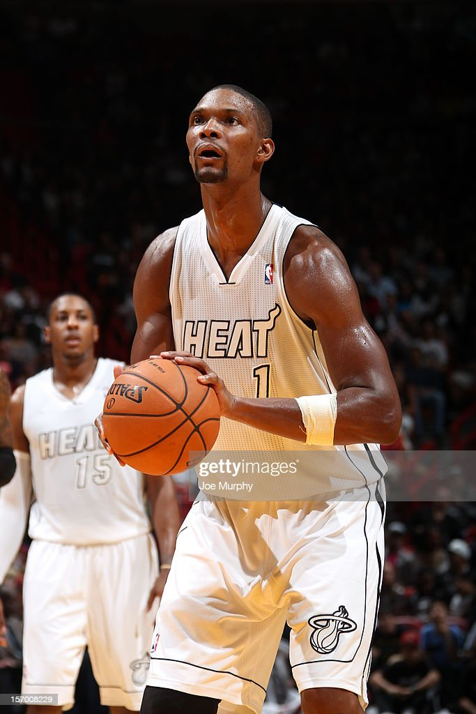 Chris Bosh #1 of the Miami Heat takes a free throw during the game against the Cleveland Cavaliers on November 24, 2012 at American Airlines Arena in Miami, Florida.