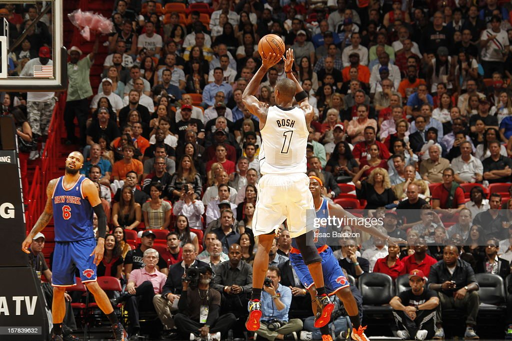 Chris Bosh #1 of the Miami Heat takes a long range shot during a game on December 6, 2012 at American Airlines Arena in Miami, Florida.