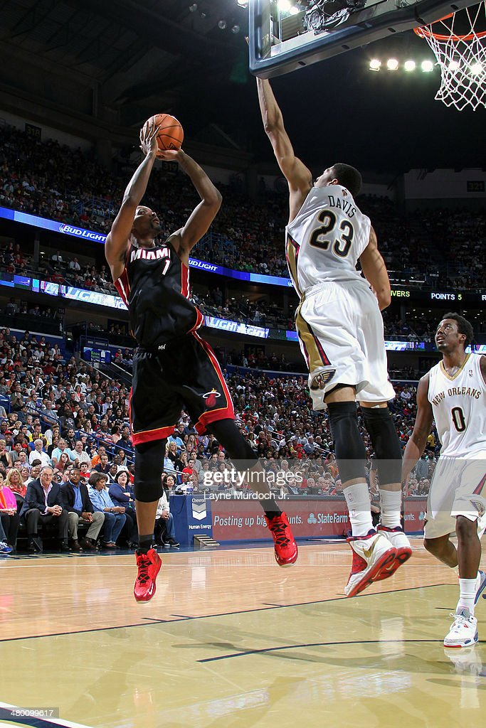 Chris Bosh #1 of the Miami Heat takes a shot against the New Orleans Pelicans on March 22, 2014 at the Smoothie King Center in New Orleans, Louisiana.
