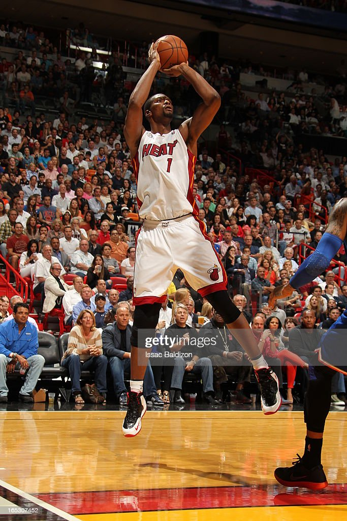 Chris Bosh #1 of the Miami Heat takes a shot against the New York Knicks during a game on April 2, 2013 at American Airlines Arena in Miami, Florida.
