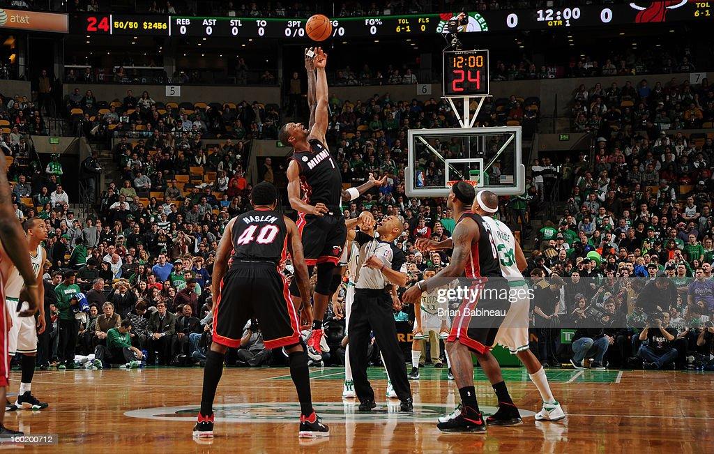 Chris Bosh #1 of the Miami Heat tips off against the Boston Celtics on January 27, 2013 at the TD Garden in Boston, Massachusetts.
