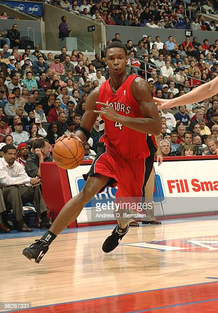 Chris Bosh of the Toronto Raptors drives against the Los Angeles Clippers November 23 2005 at Staples Center in Los Angeles California NOTE TO USER...