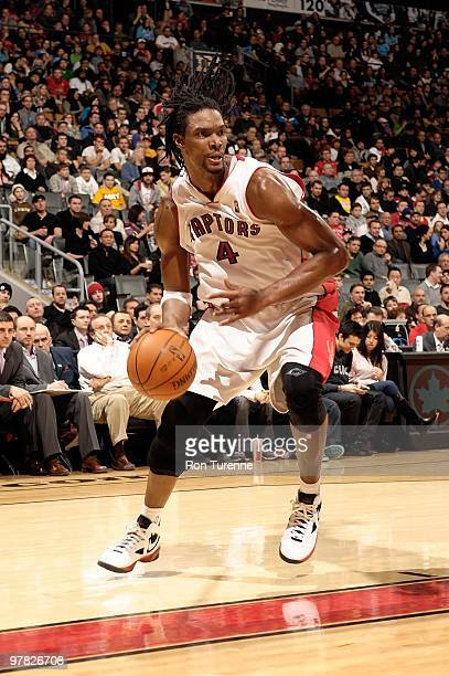 Chris Bosh of the Toronto Raptors drives against the Sacramento Kings during the game on February 7 2010 at Air Canada Centre in Toronto Canada The...