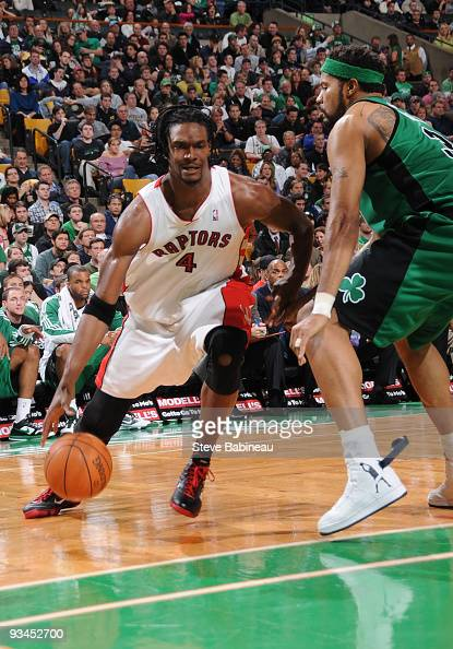 Chris Bosh of the Toronto Raptors drives to the basket against Rasheed Wallace of the Boston Celtics on November 27 2009 at the TD Garden in Boston...