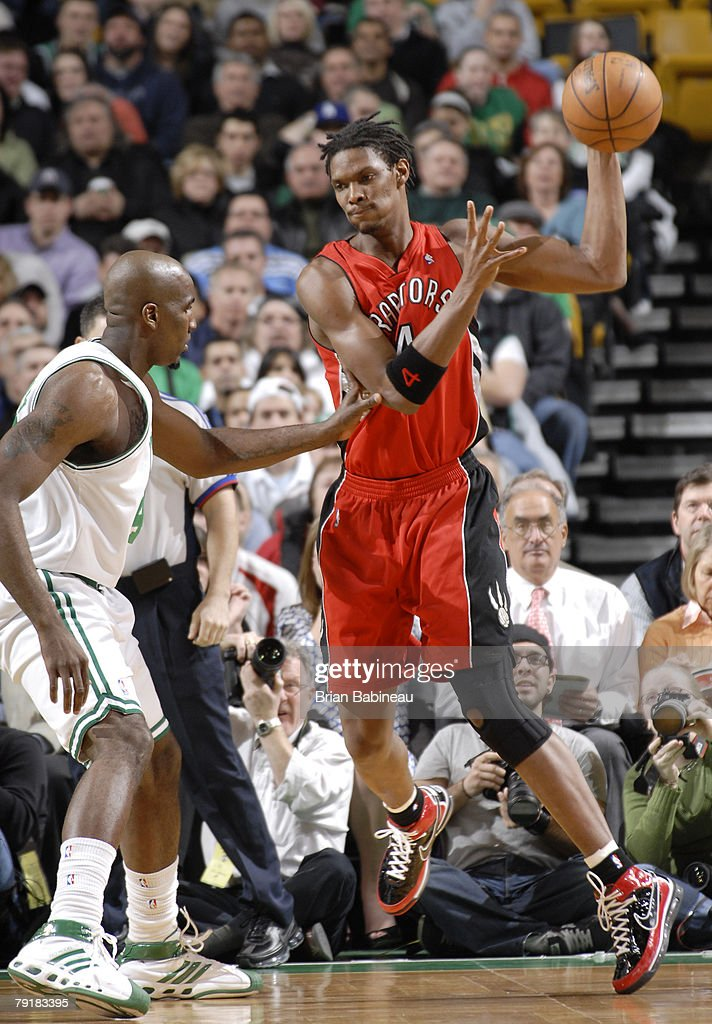 Chris Bosh #4 of the Toronto Raptors looks for a play against Kendrick Perkins #43 of the Boston Celtics on January 23, 2008 at the TD Banknorth Garden in Boston, Massachusetts.