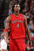 Chris Bosh of the Toronto Raptors looks on during the game against the Portland Trail Blazers at The Rose Garden on March 14 2010 in Portland Oregon...