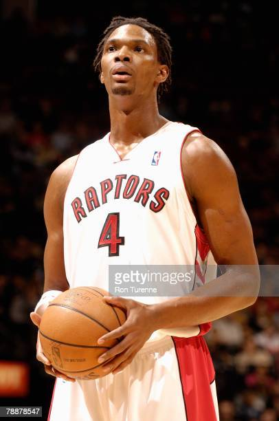 Chris Bosh of the Toronto Raptors prepares to shoot a free throw during the game against the Boston Celtics on December 16 2007 at Air Canada Centre...