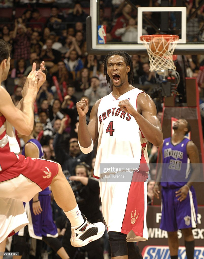 <a gi-track='captionPersonalityLinkClicked' href=/galleries/search?phrase=Chris+Bosh&family=editorial&specificpeople=201574 ng-click='$event.stopPropagation()'>Chris Bosh</a> #4 of the Toronto Raptors reacts after a crucial play late in a game against the Sacramento Kings February 7, 2010 at the Air Canada Centre in Toronto, Ontario, Canada.