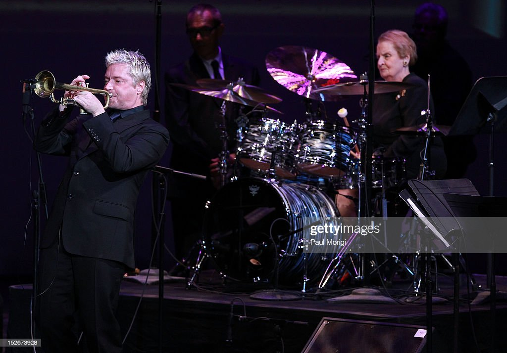 <a gi-track='captionPersonalityLinkClicked' href=/galleries/search?phrase=Chris+Botti&family=editorial&specificpeople=223897 ng-click='$event.stopPropagation()'>Chris Botti</a> and former U.S. Secretary of State <a gi-track='captionPersonalityLinkClicked' href=/galleries/search?phrase=Madeleine+Albright&family=editorial&specificpeople=211429 ng-click='$event.stopPropagation()'>Madeleine Albright</a> peform at the Thelonious Monk International Jazz Drums Competition and Gala Concert at The Kennedy Center on September 23, 2012 in Washington, DC.