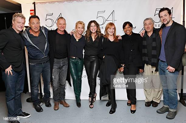 Chris Botti Bruce Springsteen Sting Trudie Styler Rita Wilson Patti Scialfa Grace Hightower and Robert De Niro and Guest pose backstage after Rita...