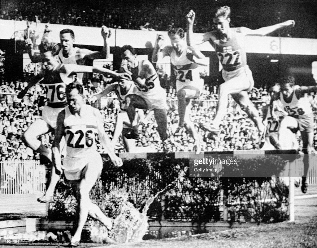 Chris Brasher (1928 - 2003) of Great Britain (#226) in action during the Steeplechase Final event during the Olympic finals held in Melbourne, Australia, November 29, 1956. Brasher won the Gold in 8:41.2 then an Olympic record.
