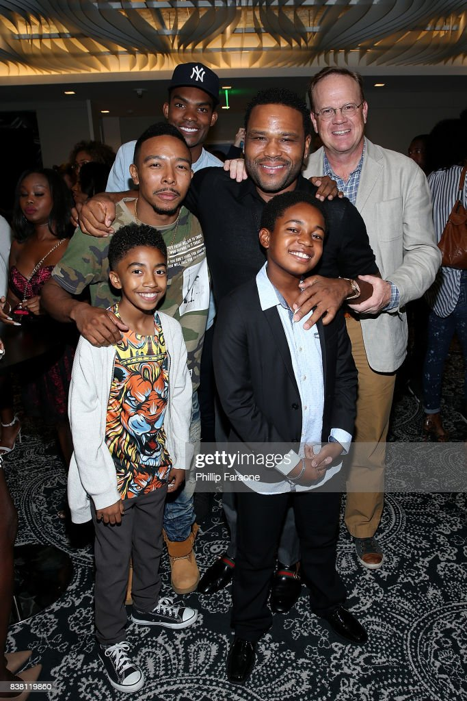 Chris Brew, Peter Mackenzie, (center row L-R) Allen Maldonado, Anthony Anderson, (front row L-R) Miles Brown, and Isac Brown attend the UTA celebration of Anthony Anderson on his Emmy nomination for his work on 'Black-ish' at UTA on August 23, 2017 in Beverly Hills, California.
