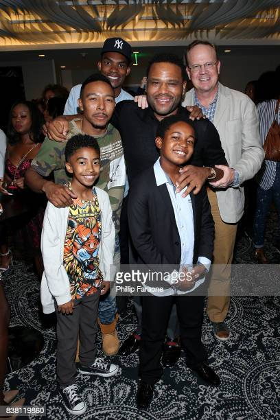 Chris Brew Peter Mackenzie Allen Maldonado Anthony Anderson Miles Brown and Isac Brown attend the UTA celebration of Anthony Anderson on his Emmy...
