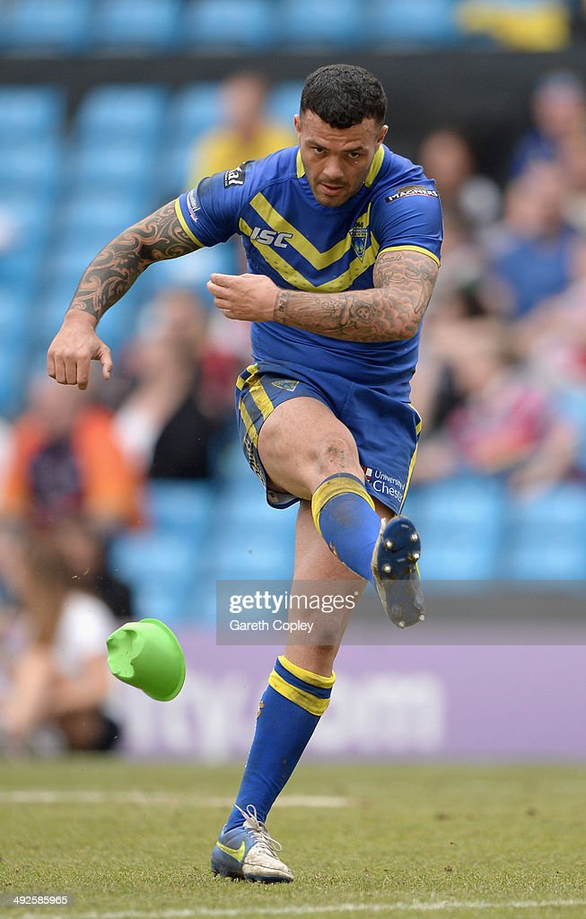 Chris Bridge of Warrington Wolves in action during the Super League match between Warrington Wolves and St Helens at Etihad Stadium on May 18, 2014 in Manchester, England.