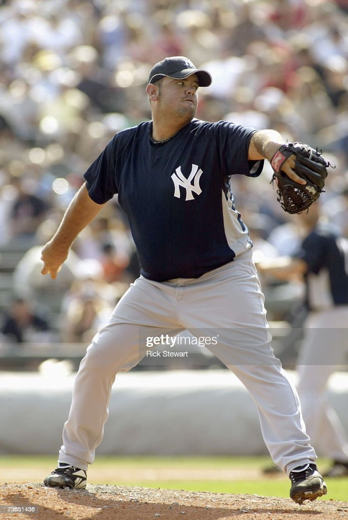 Chris Britton of the New York Yankees delivers the pitch during a Spring Training game against the Atlanta Braves on March 8 2007 at The Ballpark at...