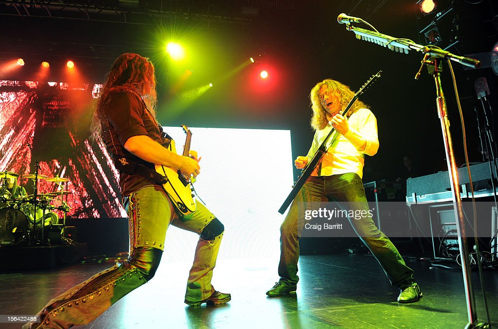 Chris Broderick and Dave Mustaine of the band Megadeth perform at Best Buy Theatre on November 14, 2012 in New York City.